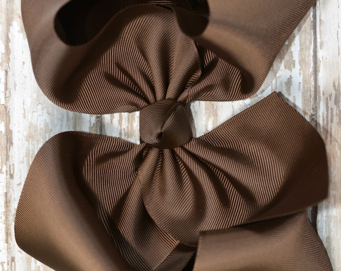 6 in. Brown Boutique  Hair Bow - XL Hair Bow - Big Hair Bows - Girl Hair Bows