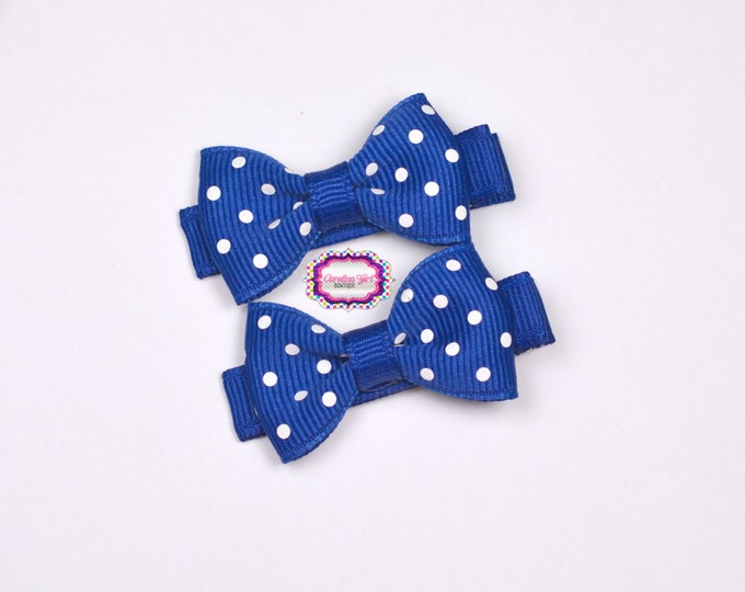 Mini Hair Bows ~ Royal Blue Dots Hair Bow Set of 2 Small Hairbows - Girls Bows - Clippies - Baby Hair Bows ~ No Slip Grip always added