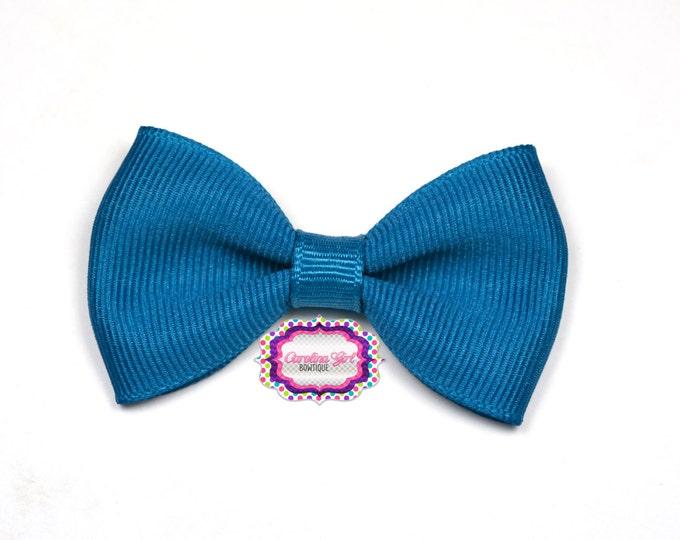 "Deep Teal Tuxedo Bow ~ 2.5"" Hairbow ~ Small Hair Bow ~ Girls Barrette ~ Toddler Bow ~ Baby Hair Bow ~ Hair Clip ~ Girls Hair Bow"