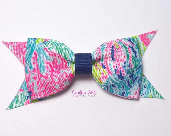 "Lets Cha Cha Navy Colorway ~ 3.5"" Hairbow ~ Lilly Inspired ~ Small Hair Bow ~ Girls Barrette ~ Toddler Bow ~ Hair Clip ~ Girls Hair Bow"
