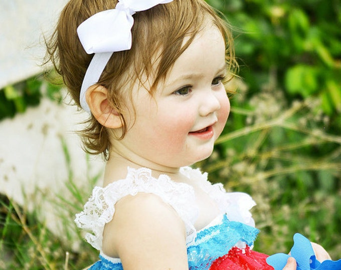White Bow Band - White Bow on an Elastic Headband Baby Infant Toddler - Girls Hair Bows