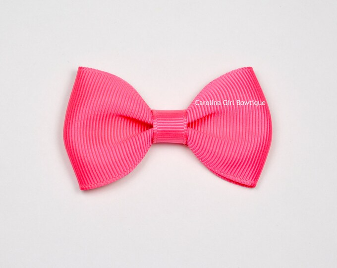 "Neon Pink  2.5"" Hair Bow Tuxedo Bow ~ Simple Bow ~ Boutique Bow for Babies Toddlers Girls Hair Bows"