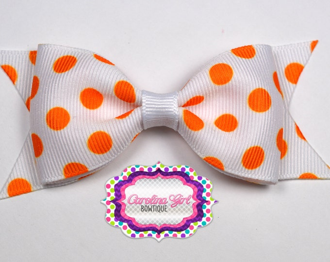 "Tennessee Inspired Dots Tuxedo Bow ~ 3.5"" Hairbow ~ Small Hair Bow ~ Girls Barrette ~ Toddler Bow ~ Hair Bow ~ Hair Clip ~ Girls Hair Bow"