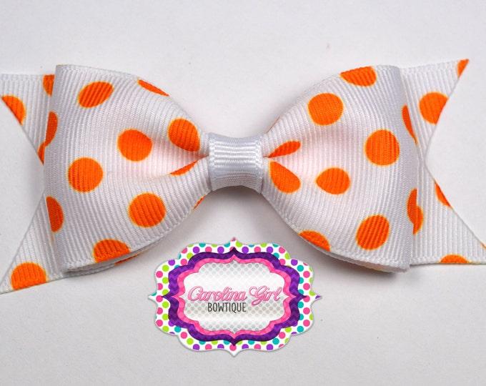 "Tennessee Inspired Dots Tuxedo Bow ~ 3.5"" Hairbow ~ Small Hair Bow ~ Girls Barrette ~ Toddler Bow ~ Hair Bow ~ Hair Clip ~ Girls Hair Bow"
