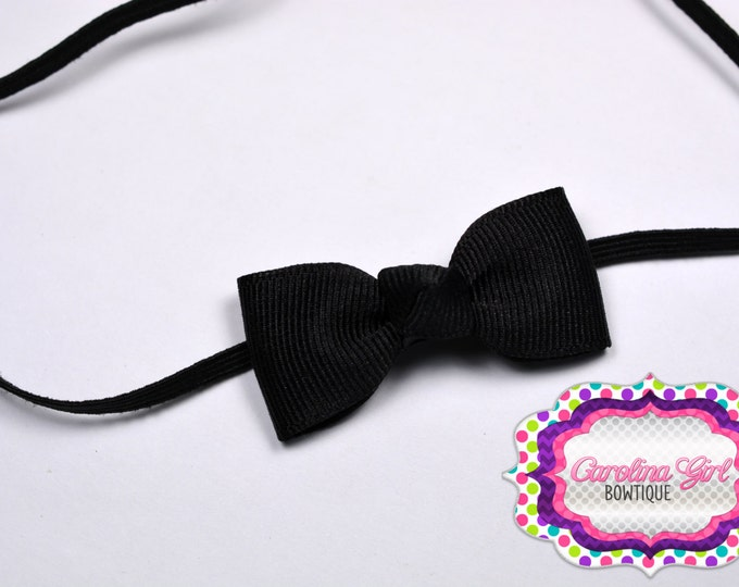 Black Newborn Headband - Small Headband withTiny Bow on Skinny Elastic - Girls Hair Bows