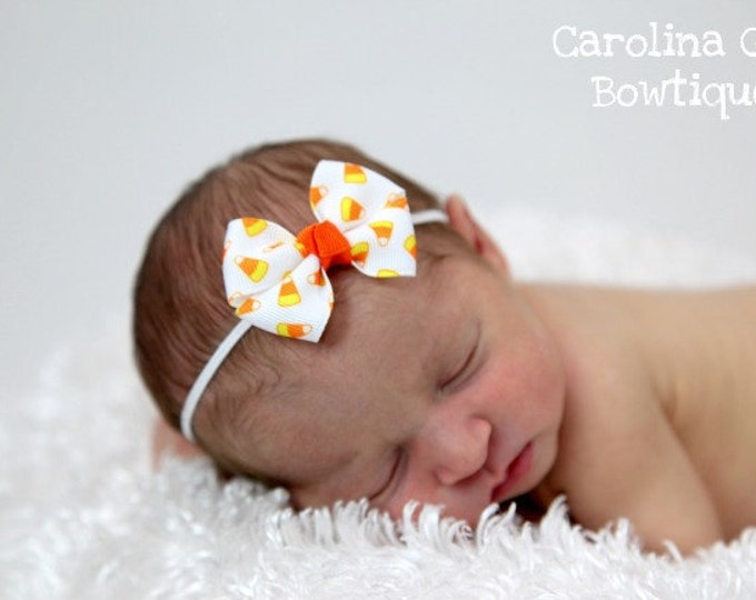 Candy Corn  Newborn Headband - 2 in. Bitty Bow on an Elastic Headband - Girls Hair Bows - Baby Headband