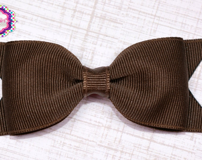"Brown Tuxedo Bow  ~ 3.5"" Hairbow ~ Small Hair Bow ~ Girls Barrette ~ Toddler Bow ~ Baby Hair Bow ~ Hair Clip ~ Girls Hair Bow"