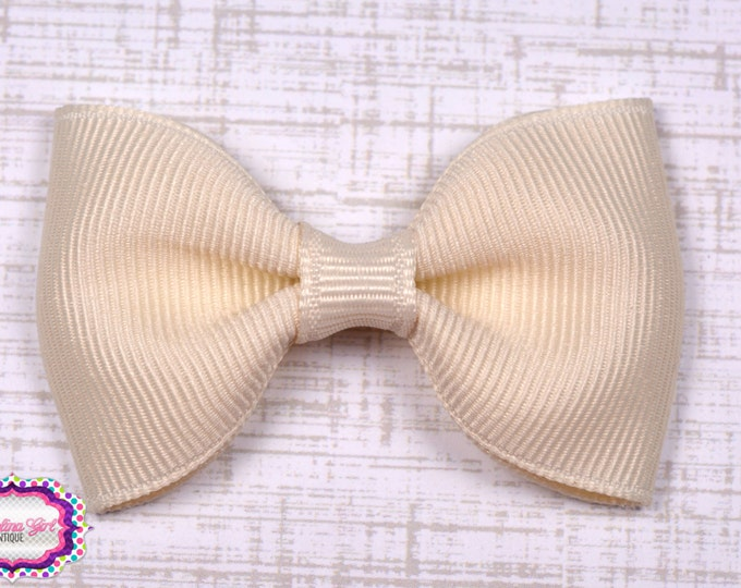 "Ivory Tuxedo Bow  ~ 2.5"" Hairbow ~ Small Hair Bow ~ Girls Barrette ~ Toddler Bow ~ Baby Hair Bow ~ Hair Clip ~ Girls Hair Bow"