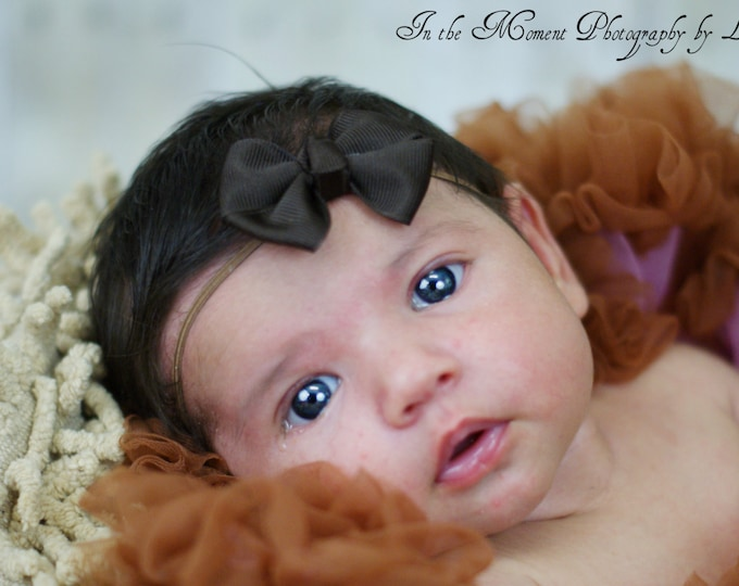 Brown Newborn Headband - 2 in. Bitty Bow on an Elastic Headband - Girls Hair Bows - Baby Headband