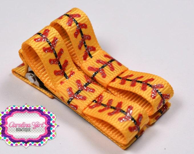 Softball Laces Hair Clips Basic Tuxedo Clips Alligator Non Slip Barrettes for Babies Toddler Girl Set of 2