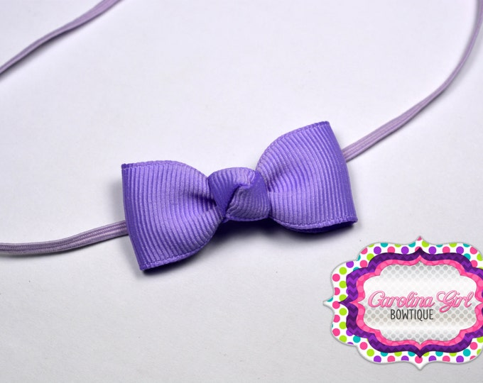 Light Orchid Newborn Headband - Small Headband withTiny Bow on Skinny Elastic - Girls Hair Bows