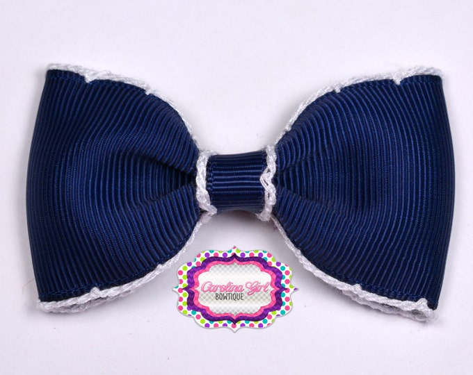 """Navy w/ White Stitching 3"""" Hair Bow Tuxedo Bow Simple Bow Boutique Bow for Babies Toddlers Girls Hair Bows"""