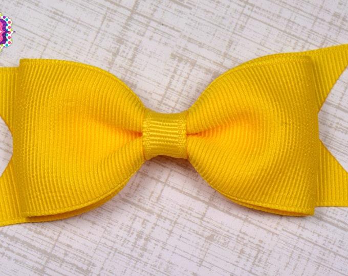 "Yellow Tuxedo Bow  ~ 3.5"" Hairbow ~ Small Hair Bow ~ Girls Barrette ~ Toddler Bow ~ Baby Hair Bow ~ Hair Clip ~ Girls Hair Bow"