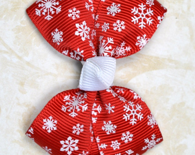 Red Snowflakes Hair Bow ~ Girls Hair Bows ~ Toddler Hair Bows ~ Small Hair Bows ~ Small Hair Barrette ~ Hair Bows for Girls
