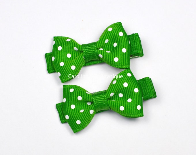 Mini Hair Bows ~ Emerald Dots Hair Bow Set of 2 Small Hairbows - Girls Hair Bows - Clippies - Baby Hair Bows ~ No Slip Grip always added