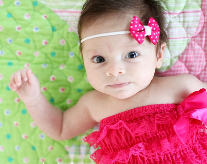 Shocking Pink Dots Newborn Headband - 2 in. Bitty Bow on an Elastic Headband - Girls Hair Bows - Baby Headband