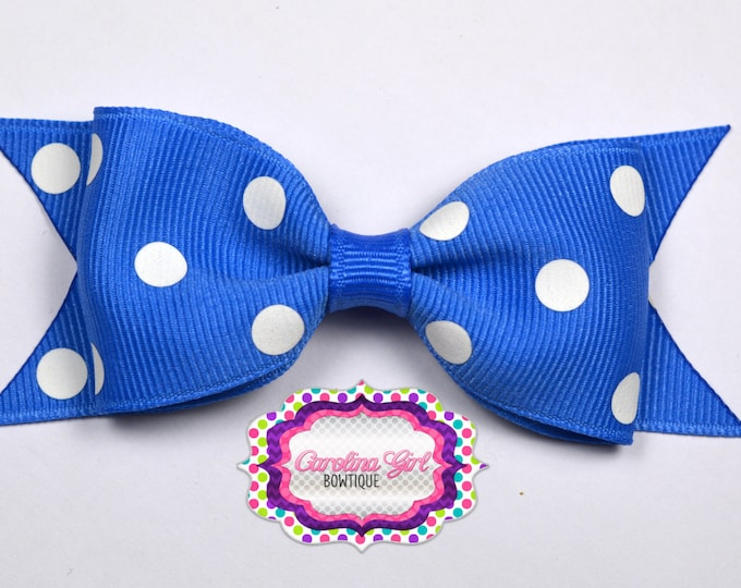 "Capri Blue Dots Tuxedo Bow ~ 3.5"" Hairbow ~ Small Hair Bow ~ Girls Barrette ~ Toddler Bow ~ Baby Hair Bow ~ Hair Clip ~ Girls Hair Bow"