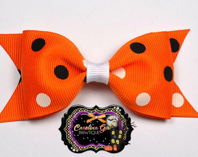 "Orange w/ Black & White Tuxedo Bow~ 3.5"" Hairbow~ Small Hair Bow ~ Girls Barrette ~ Toddler Bow ~ Baby Hair Bow ~ Hair Clip ~ Girls Hair Bow"