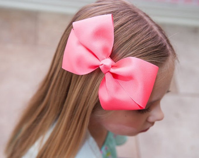 6 in. Neon Pink  Hair Bow - XL Hair Bow - Big Hair Bows - Girl Hair Bows