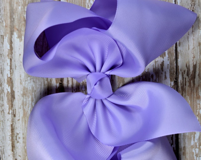 6 in. Lavender  Boutique  Hair Bow - XL Hair Bow - Big Hair Bows - Girl Hair Bows