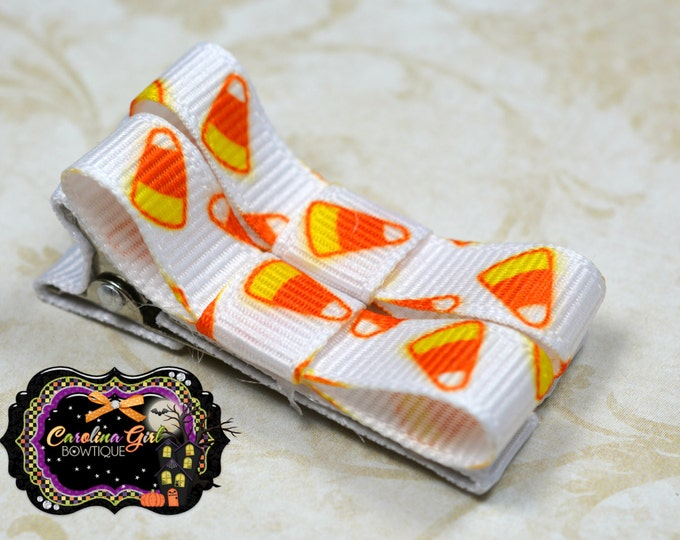 Candy Corn Hair Clips Basic Tuxedo Clips Alligator Non Slip Barrettes for Babies Toddler Girl Set of 2