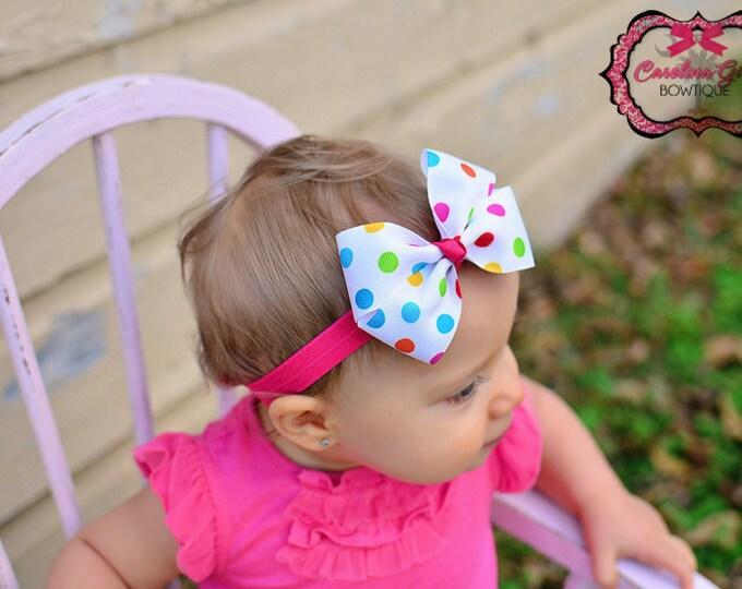 Bright Polka Dots Bow Band - Bow on an Elastic Headband Baby Infant Toddler - Girls Hair Bows