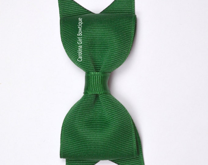 "Forest Green Tuxedo Bow ~ 3.5"" Hairbow ~ Small Hair Bow ~ Girls Barrette ~ Toddler Bow ~ Baby Hair Bow ~ Hair Clip ~ Girls Hair Bow"