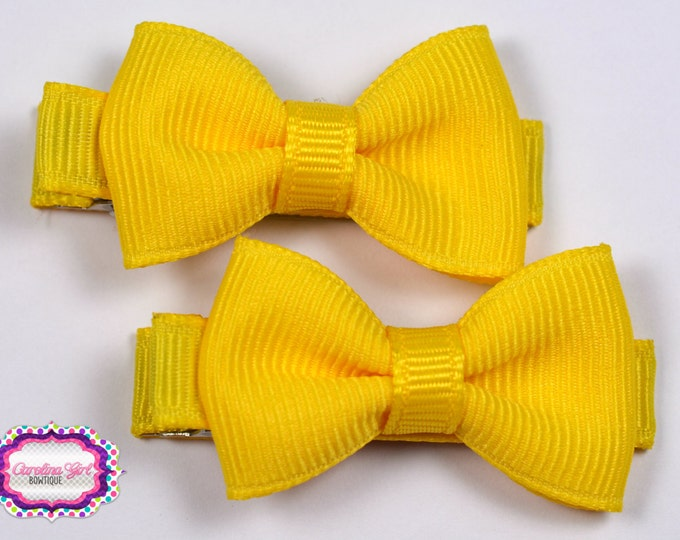 YellowHair Bow Set of 2 Small Hairbows - Girls Hair Bows - Clippies - Baby Hair Bows - Mini Hair Bow sets