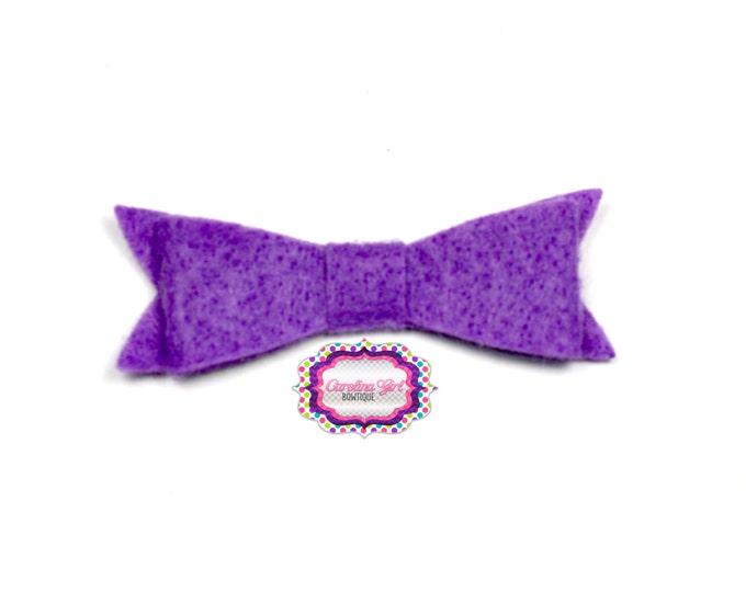 """Dark Orchid Felt Tuxedo Bow  ~2"""" Hairbow ~Small Bow ~Girls Barrette ~Toddler Bow ~ Baby Hair Bow ~ Hair Clip ~ Girls Hair Bow"""