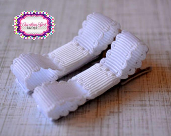 White Scalloped Edge Hair Clips Basic Tuxedo Clips Alligator Non Slip Barrettes for Babies Toddler Girl Set of 2