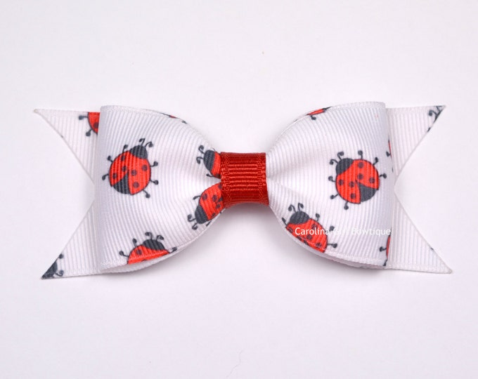 "Lady Bug Bow ~ 3.5"" Hairbow ~ Small Hair Bow ~ Girls Barrette ~ Toddler Bow ~ Baby Hair Bow ~ Hair Clip ~ Girls Hair Bow ~ No Slip Grip"