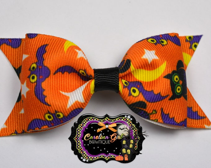 "Halloween Bats & Owls Tuxedo Bow ~ 3.5"" Hairbow ~ Small Hair Bow ~ Girls Barrette ~ Toddler Bow ~ Baby Hair Bow ~ Hair Clip ~ Girls Hair Bow"