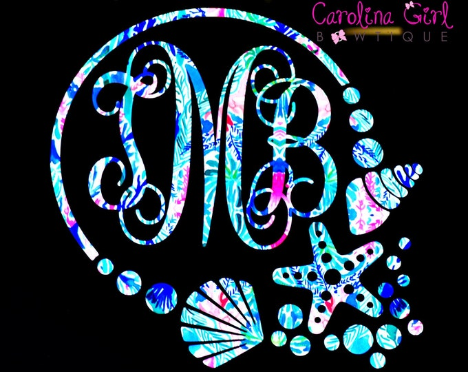 Personalized Lilly Inspired Shell Monogram Decal ~ Yeti Decal ~ Lilly Car Decal ~ Lilly Decal ~ Lilly Sticker