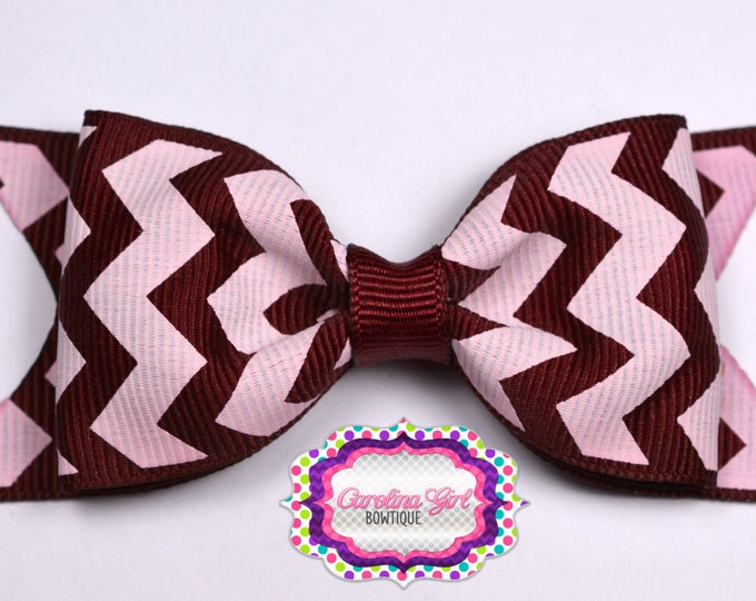 "Maroon Chevron Tuxedo Bow  ~ 3.5"" Hairbow ~ Small Hair Bow ~ Girls Barrette ~ Toddler Bow ~ Baby Hair Bow ~ Hair Clip ~ Girls Hair Bow"