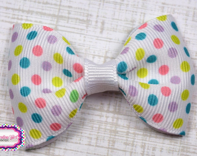 "Spring Dots Tuxedo Bow ~ 2.5"" Hairbow ~ Small Hair Bow ~ Girls Barrette ~ Toddler Bow ~ Baby Hair Bow ~ Hair Clip ~ Girls Hair Bow"
