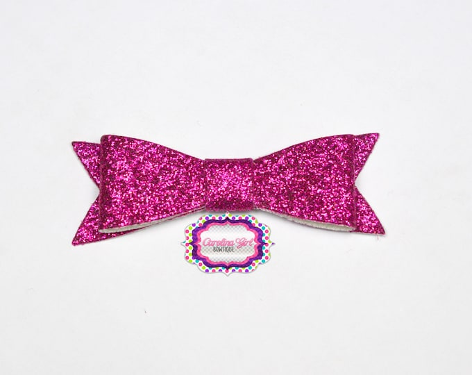 "Shocking Pink Glitter Felt Tuxedo Bow  ~ 2"" Hairbow ~Small Bow ~Girls Barrette ~Toddler Bow ~ Baby Hair Bow ~ Hair Clip ~ Girls Hair Bow"