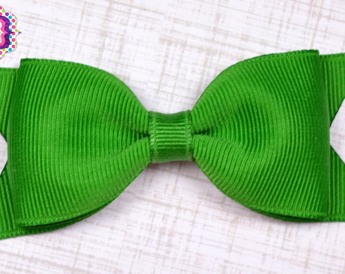 "Emerald Tuxedo Bow  ~ 3.5"" Hairbow ~ Small Hair Bow ~ Girls Barrette ~ Toddler Bow ~ Baby Hair Bow ~ Hair Clip ~ Girls Hair Bow"