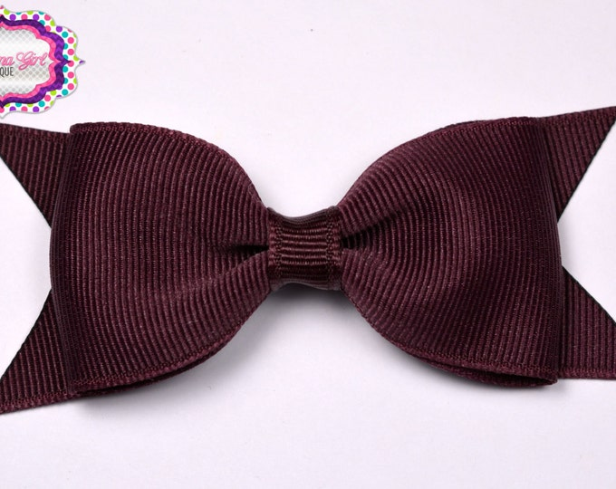 "Maroon Tuxedo Bow  ~ 3.5"" Hairbow ~ Small Hair Bow ~ Girls Barrette ~ Toddler Bow ~ Baby Hair Bow ~ Hair Clip ~ Girls Hair Bow"