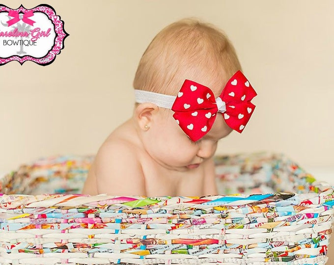Red with White Hearts Bow Band - Bow on an Elastic Headband Baby Infant Toddler - Girls Hair Bows