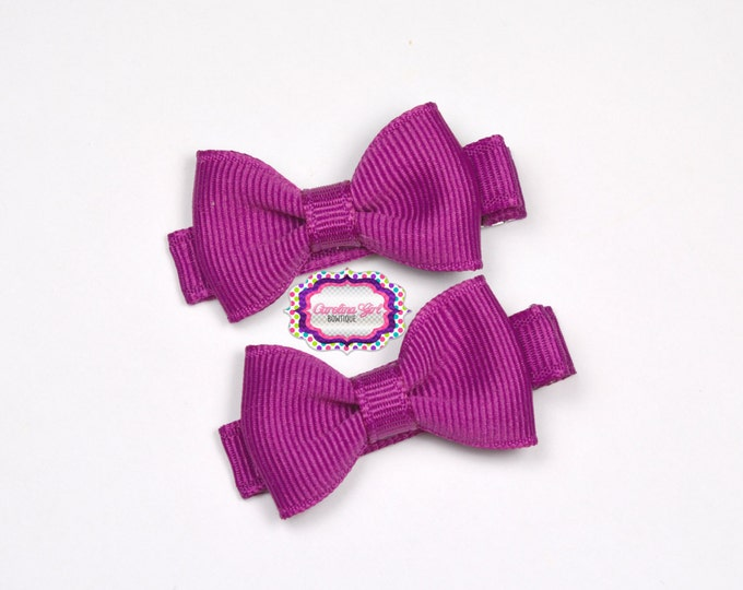 Mini Hair Bows ~ Festive Fuschia Hair Bow Set of 2 Small Hairbows - Girls Bows - Clippies - Baby Hair Bows ~ No Slip Grip always added