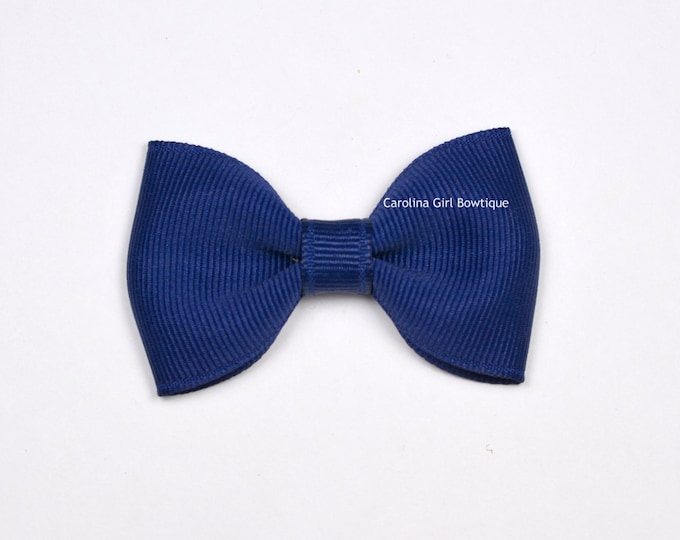 "Light Navy Blue  2.5"" Hair Bow Tuxedo Bow ~ Simple Bow ~ Boutique Bow for Babies Toddlers Girls Hair Bows"