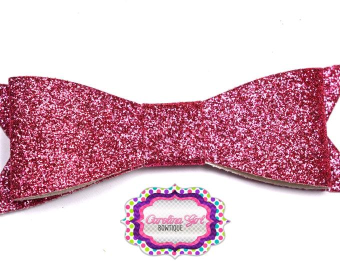 "Pink Glitter Felt Tuxedo Bow  ~ 3"" Hairbow ~ Small Hair Bow ~ Girls Barrette ~ Toddler Bow ~ Baby Hair Bow ~ Hair Clip ~ Girls Hair Bow"