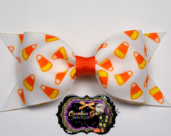 "Candy Corn Tuxedo Bow ~ 3.5"" Hairbow ~ Small Hair Bow ~ Girls Barrette ~ Toddler Bow ~ Baby Hair Bow ~ Hair Clip ~ Girls Hair Bow"