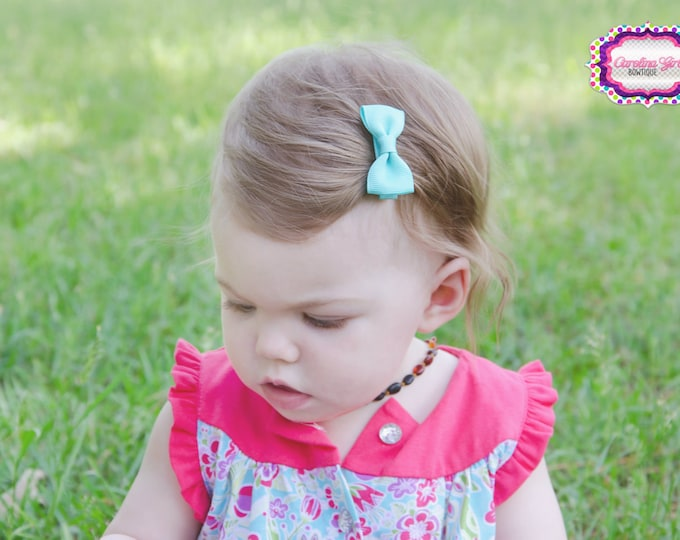 "Aqua 2"" Hair Bow Tuxedo Bow Simple Bow Boutique Bow for Babies Toddlers Girls Hair Bows Teen Hair Accessory"