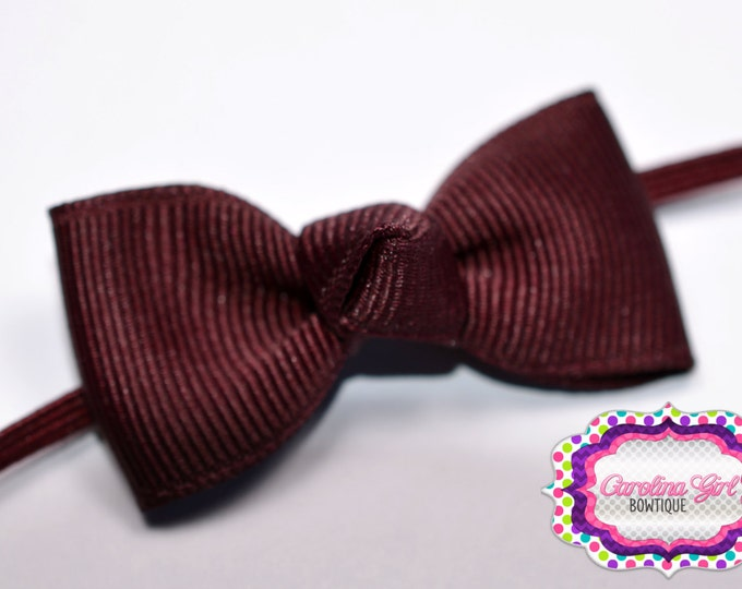 Maroon Newborn Headband - Small Headband Tiny Bow on Skinny Elastic - Girls Hair Bows