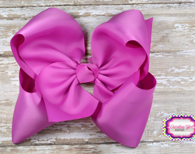 6 in. Fuschia Boutique  Hair Bow - XL Hair Bow - Big Hair Bows - Girl Hair Bows