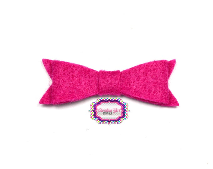 "Shocking Pink Felt Tuxedo Bow  ~2"" Hairbow ~Small Bow ~Girls Barrette ~Toddler Bow ~ Baby Hair Bow ~ Hair Clip ~ Girls Hair Bow"