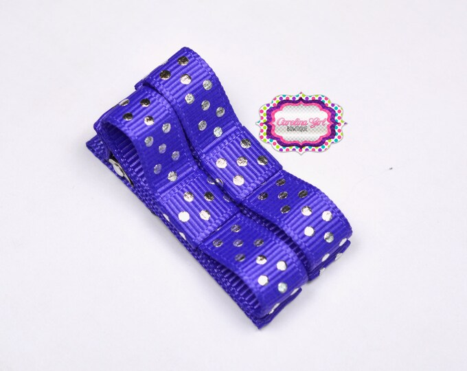 Purple with Silver Dots Hair Clips Basic Tuxedo Clips Alligator Non Slip Barrettes for Babies Toddler Girl Set of 2