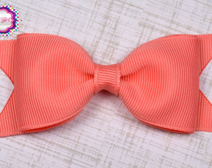 "Coral Tuxedo Bow  ~ 3.5"" Hairbow ~ Small Hair Bow ~ Girls Barrette ~ Toddler Bow ~ Baby Hair Bow ~ Hair Clip ~ Girls Hair Bow"