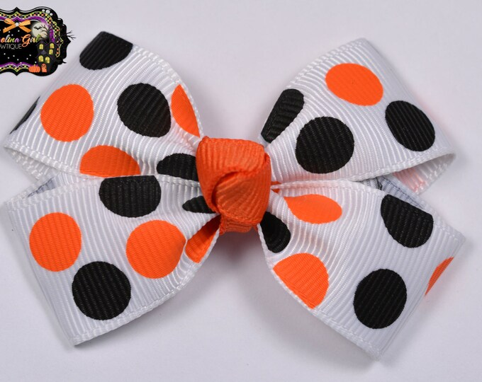 Orange and Black Dots Halloween Hair Bow 2.5 Inch Pinwheel Boutique Bow for Babies Toddlers Girls Hair Bows
